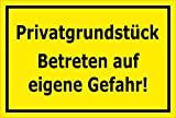 Melis Folienwerkstatt Schild - Privat-grundstück - Betreten auf Eigene Gefahr - 30x20cm mit Bohrlöchern | Stabile 3mm Starke PVC Hartschaumplatte – S00073-C +++ in 20 Varianten