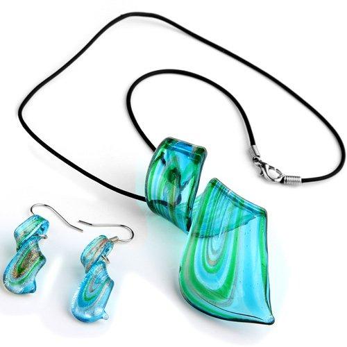 Ecloud Shop Conjunto Collar + Pendientes Cristal de Murano Espiral Azu