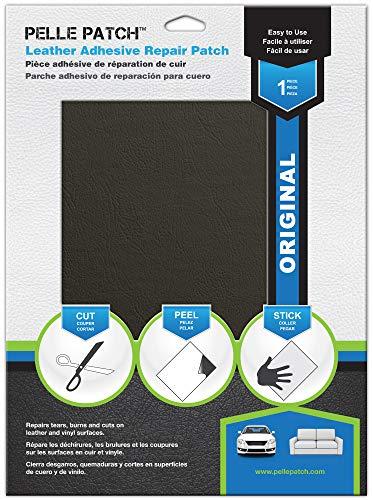 Pelle Patch - Pièce adhésive de réparation de Cuir et Vinyle - 25 Couleurs Disponibles - Original 20cm x 28cm - Gris Foncé