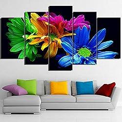 RALCAN Wall Art HD Imprime Poster 5 Unidades Color Flores Pintura Margaritas Modulares Imágenes Decoración para El Hogar Sala De Estar-40X60 40X80 40X100Cm
