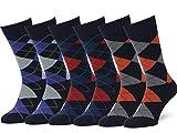 Easton Marlowe Classic Argyle Herren Business Socken - 6pk #2-7, dunkle Marine & helle Farben - 43-46 EU Schuhgröße