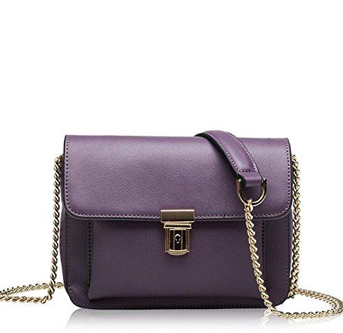 La signora YANX sacchetto di catena in pelle borsetta tracolla signora (20 * 15 * 7 cm) , red viola