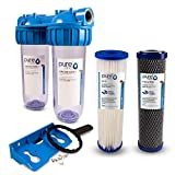 PureOne SA2 SediActive-Set. 2-Stufige Filteranlage 10 Zoll. Sediment, Chlor, Schadstoffe und Geschmack. Filtergehäuse mit Membran- und Kokos-Aktivkohle Filterkartusche. Hauswasser, Zisterne 3/4 Zoll
