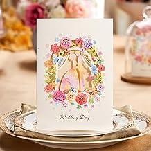 Wishmade Einladungskarten Hochzeit Beige Mit Design In Brautpaar Figur Und  Blumen Blanko Set 50 Stücke