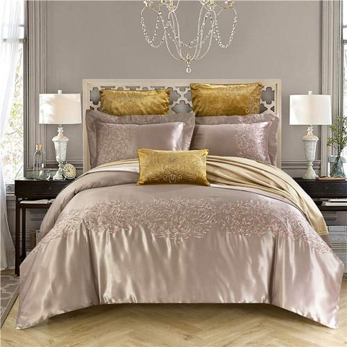 RONGXIE 4pcs Silk Egypt Cotton Classic Elegance Luxury Bedding Set Embroidery Duvet Cover Sets Bed Sheet Pillowcases Queen King Size (Bed Set Queen-size Sheet)