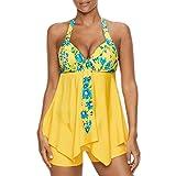 SET-SAIL Damen Sommer Mode hängenden Hals große Größe Blumendruck Sexy Split Badeanzug Bikini Set S-5XL (Gelb, L)