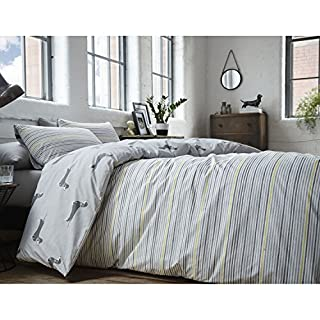 Racing Green Andover Stripe Reversible Duvet Cover Set, Silver, King