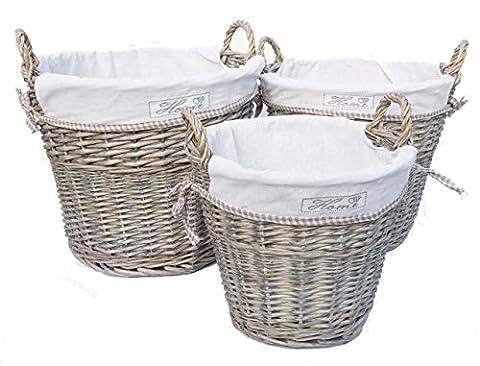 Natural Oak Full Wicker Round Storage Laundry Log Fireplace Basket