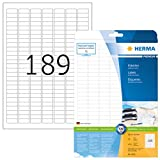 HERMA 4333 Universal Etiketten DIN A4 (25,4 x 10 mm, 25 Blatt, Papier, matt) selbstklebend, bedruckbar, permanent haftende Adressaufkleber, 4.725 Klebeetiketten, weiß