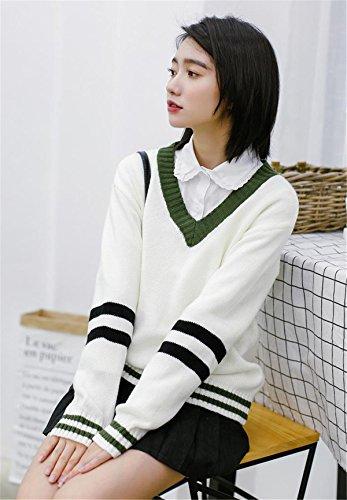 JOTHIN Piccolo fresco Maglieria Collo V Giuntura Maglioni Student Student Sweater Elasticizzati Basic Pullover Donna Bianco