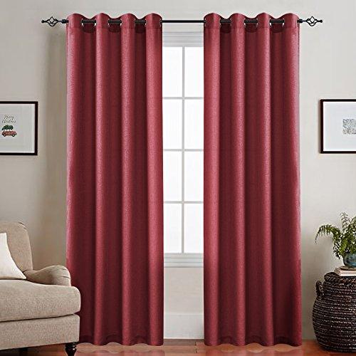 CKNY Rot Sheer durchsichtig einfarbig Vorhang mit Ösen halb transparent Gardine aus Voile 2 Stücke...