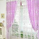 Vorhänge ösen Wohnzimmer Modern Jamicy® 100 x 200cm Neu Mode Auto Transparent Orientalisch Muster Blume Fenster Gardinen Deko Für Schlafzimmer Kinderzimmer Jungen (Lila)