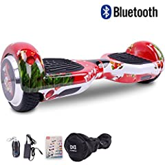 Idea Regalo - Cool&Fun Self Balance Scooter Elettrico,regalo di natale con LED, con Bluetooth, Due Ruode 6.5