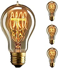 KINGSO - Bombilla de rosca Edison E27, estilo vintage, 60W, intensidad regulable, filamentos antiguos A19, bucle de tungsteno, 23anclajes incandescentes, cristal, 220V