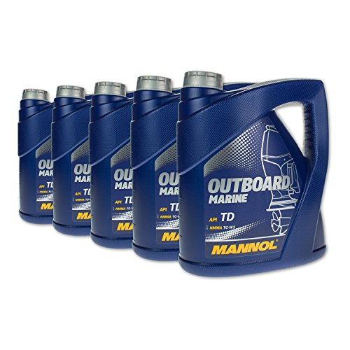 MANNOL 20 (5x4) Liter Outboard Marine 2-Takt Mischöl Außenborder mit Ölwechselanhänger (Outboard-Öl)