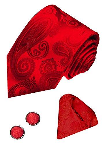 LORENZO CANA - Marken Set aus 100% Seide - Rote Krawatte mit Manschettenknöpfen und Einstecktuch - Paisleymuster - 8431205