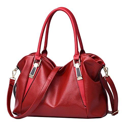 LAIDAYE Frau Handtasche Mode Handtasche Schultertasche Messenger Bag Big Bag Red