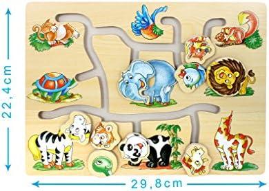 Générique Puzzle en Bois Bois Bois avec Animaux têtes coulissantes - bébé - Beige | Promotions  6341e3