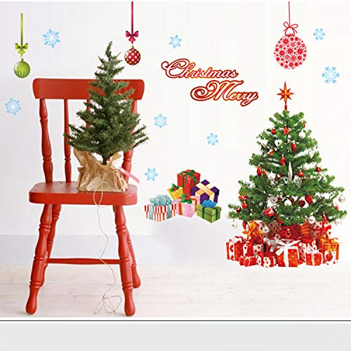 Wandaufkleber Glasaufkleber Weihnachten Tag Dekoration Weihnachtsbaum Glas Klebrige Selbstklebende Papier Drei Generationen Abnehmbare 220 * 110 Cm (Klebrig Weihnachten Dekorationen)