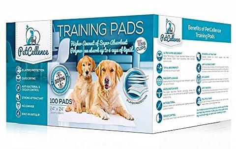 Welpen Hunde Trainingsunterlagen für Welpen Puppy Pads (100 Stück) von PetCellence | Welpenhaus Zug Piddle | Wee Wee Matten mit Lockstoff Scent | Absorbiert 200% mehr Flüssigkeit | Anti Slip & Leakproof | 60cm x 60cm