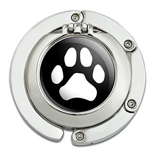 Pfotenabdruck Hund Katze weiß auf schwarz Geldbörse Kleiderbügel Halter Haken mit Compact (Hund Handtaschen Geldbörsen)