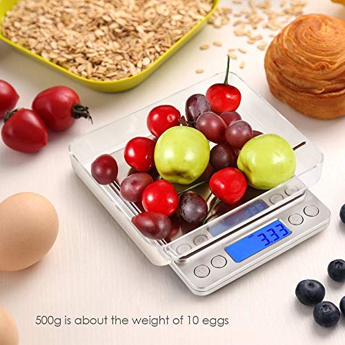 ZUEN Digitale Küchenwaage Mini Pocket Schmuckwaage Lebensmittelwaage LCD-Monitor Mit Hintergrundbeleuchtung 3kg-0.1g Edelstahlwaage Commercial Lcd Monitor