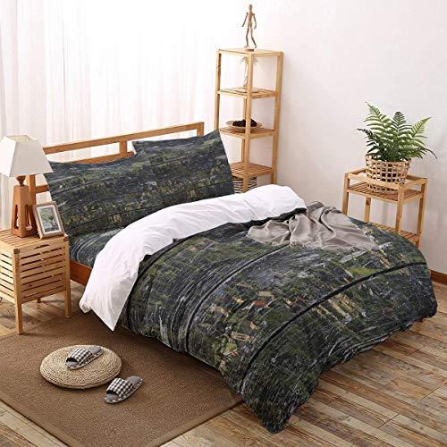 Soefipok 4er Bettwäscheset Wood Grain Green Town Pflegeleichtes Bettwäscheset für Herren, Damen, Jungen und Mädchen