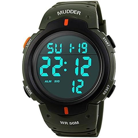 Mudder Reloj Deportivo Digital Impermeable 5ATM, Verde del Ejército