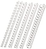Plastik-Binderücken Sortiment 160-teilig (6 - 22 mm / max. ca. 190 Blatt), weiß
