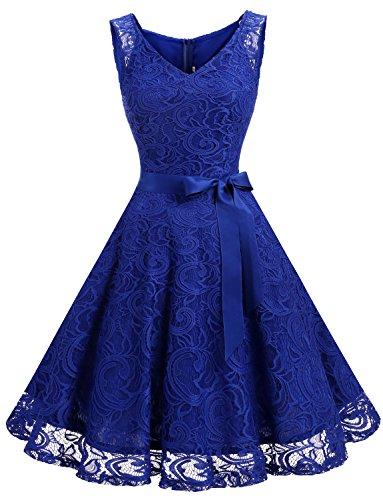 Dressystar DS0010 Robe Femme soirée/Demoiselle d'honneur/Bal Col en V sans Manches Dentelle avec Une Ceinture Blue Saphir XL