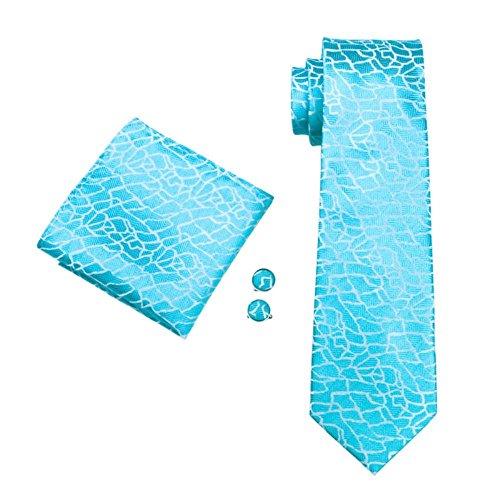 Hellblau Türkis Steinschlagoptik Steinschlag Optik Seide Krawatte Set Binder Schlips Hochzeit Einstecktuch Manschettenknöpfe Krawattenset (Hellblau Türkis (183))