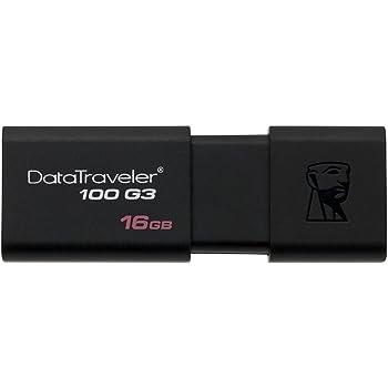 Kingston DT100G3/16GB DataTraveler 100 G3, USB 3.0, 3.1 Flash Drive, 16 GB, Black
