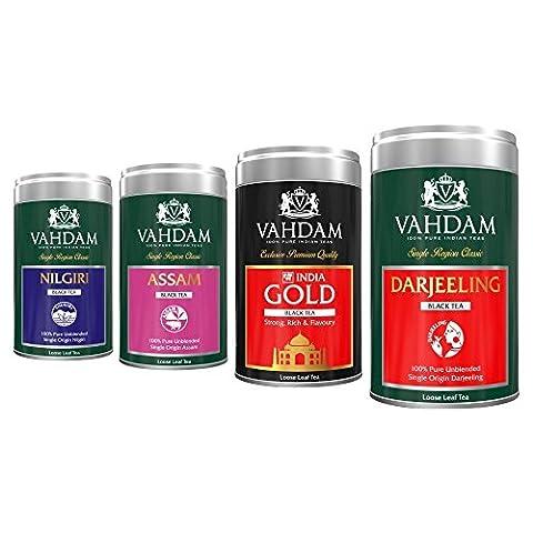 Set of 4 Finest Black Tea Leaves (200 Cups) - DARJEELING TEA, ASSAM TEA, NILGIRI TEA, INDIA GOLD - Black Tea Loose Leaf, Exotic Long Leaf Black Tea Sampler & Black Tea Variety Pack, 400gm