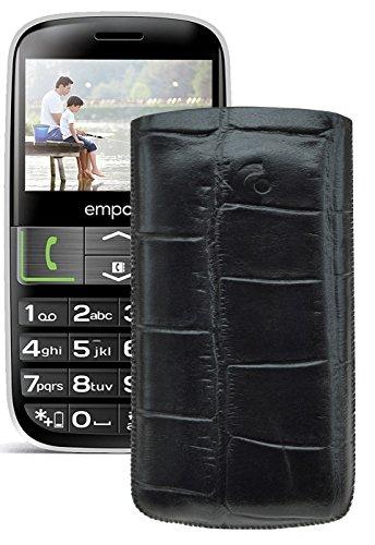 Original Suncase Tasche für / Emporia EUPHORIA V50 / Leder Etui Handytasche Ledertasche Schutzhülle Case Hülle - Lasche mit Rückzugfunktion* In Croco-Schwarz
