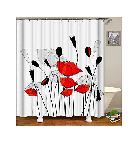 AieniD Cortina De Baño Antimoho Divertida Flores Rojo Y Negro Cortina De Ducha Estanca Size:180X200CM