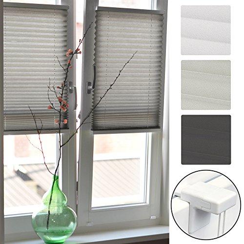 Sol Royal Plissee Klemmfix SolDecor P26 70x120 cm Grau - Plisseerollo ohne Bohren - Rollo Fenster & Türen (Für Vorhänge Terrasse Lange)