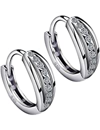 Meyiert 925 Sterling Silver Zirconia Beautiful Round Hoop Stud Earrings for Women (with Gift Box)