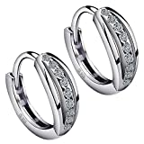 Meyiert 925 Sterling Silver Zirconia Beautiful Round Hoop Stud Earrings for Women (with Gift Box) (White)