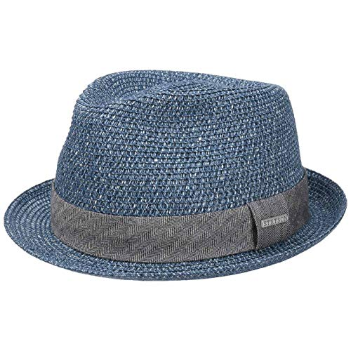 Trilby Strohhut Herren | Melierter Hut mit Garniturband | Sonnenhut aus Toyo-Stroh | Herrenhut | Sommerhut Frühjahr/Sommer | Trilbyhut blau L (58-59 cm) ()