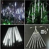 [Batteriebetriebene und USB-Anschluss] LED Meteorschauer Regen Lichter, 8 Tubes 144 LEDs anschließbare Schneefall Schnur-Lichter für Garten-Hochzeit Weihnachtsbaum im Freien Dekor