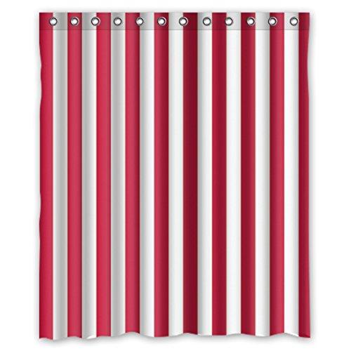 DOUBEE Personalisiert Weiß und Rot Gestreifte Regenbogen Badezimmer Wasserdichtes Duschvorhänge Shower Curtain 60
