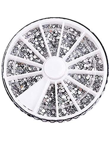 CAOLATOR Strass Ongle Nail Art Cristal Clair/AB Flatback Deco Decoration Ronde Acrylique Diamant Bijoux Accessoire Gemme Dentelle en Argent et Diamants