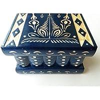 Nuova blu bella mano speciale intagliato, artigianato scatola di legno fatti a mano di puzzle, scatola segreta, scatola magica, contenitore di monili, rompicapo, scatola di immagazzinaggio, scatola designe fiore