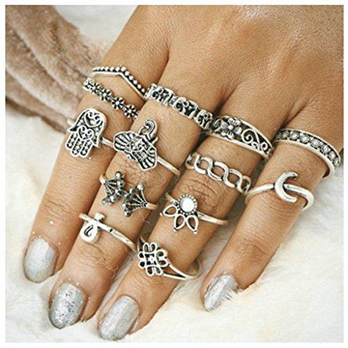 Bishiling 13 Stücke Stapelringe Ring für Damen Zirkonia Knot Blume Dreieck Nagelringe Silberringe