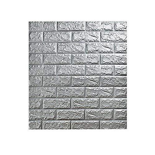 3D Ziegel Tapete – Wandpaneele Selbstklebend Steinoptik Tapete 77 x 70 x 0.9 cm Wasserfest Ziegelstein Wandtattoo PVC verdicht DIY Schaum Panel weiche Ziegel Anti-Kollision Wandaufkleber