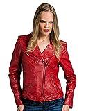 Urban Leather Perfecto Retro Damen Lederjacke Rot Lamm-Nappa, Red, Größe 3XL - 48