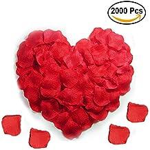 2000pcs réaliste artificiel des soie pétales Rose du rouge décorations pour fête de mariage