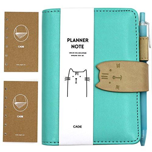 hossty A7Pu Leder Katze Spirale Notebook Planer Taschen Memo Reisen Tagebuch Schule Casual Einband Einheitsgröße grün