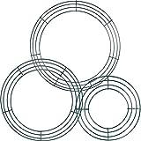 Sumind 3 Packung Draht Kranz Ringe Draht Kranz Rahmen für Silvester Valentines Dekoration, Dunkelgrün (8 Inch, 12 Inch and 14 Inch)