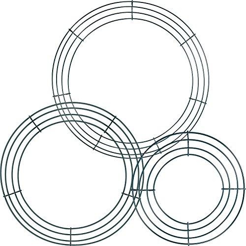Sumind 3 Packung Draht Kranz Ringe Draht Kranz Rahmen für Silvester Valentines Dekoration, Dunkelgrün (8 Inch, 12 Inch and 14 Inch) (Kranz Valentines)